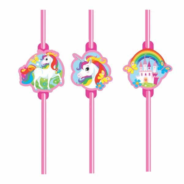 Rainbow Unicorn Party Plastic Straws