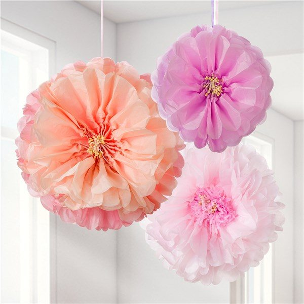 Blush Flower Pom Pom Decorations