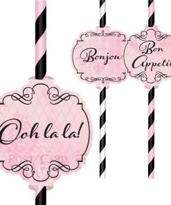 Day In Paris Party Paper Straws