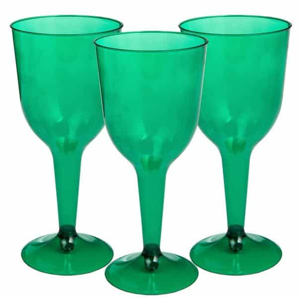 Green Plastic Wine Glasses