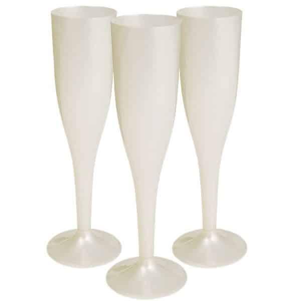 Ivory Plastic Champagne Glasses