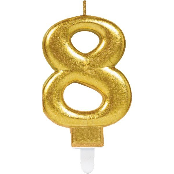 Number 8 Gold Metallic Candle