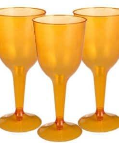 Orange Plastic Wine Glasses