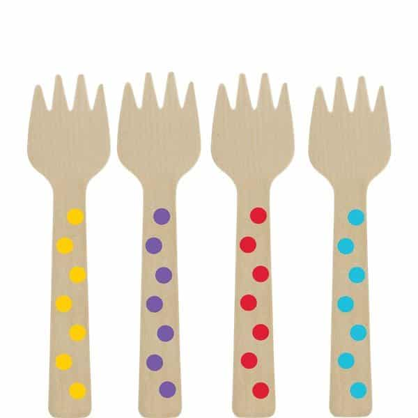 Rainbow Buffet Mini Wooden Forks