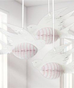 White Honeycomb Bird Decorations