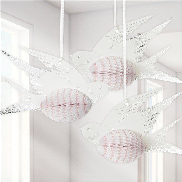 White Honeycomb Bird Decorations