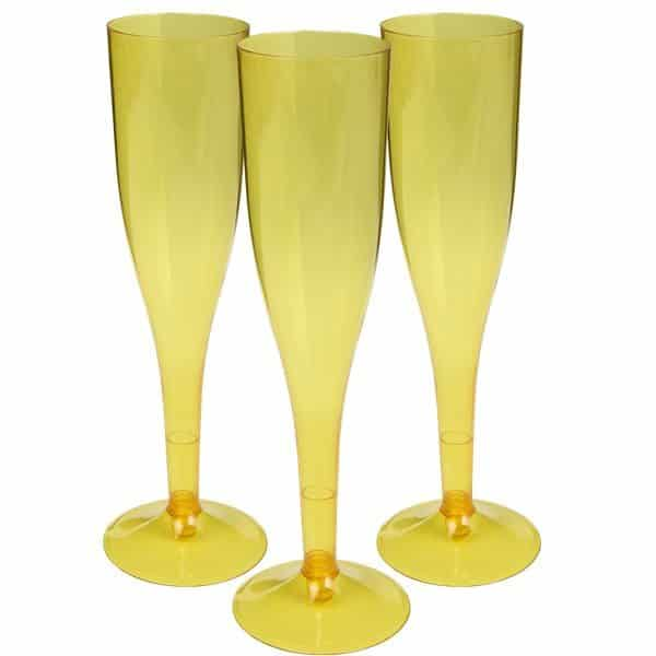 Yellow Plastic Champagne Glasses