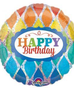 Rainbow Holographic Happy Birthday Foil Balloon
