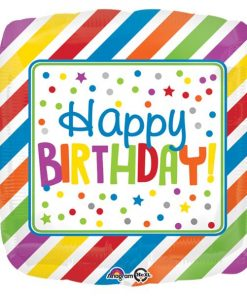 Rainbow Stripes & Dots Happy Birthday Foil Balloon