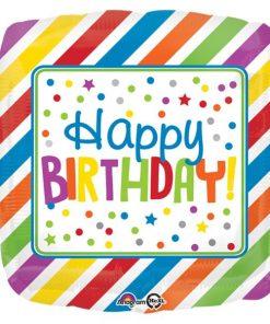 Rainbow Stripes & Dots Happy Birthday Foil Balloon