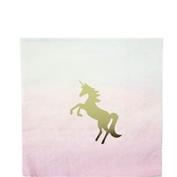 We Heart Unicorn Party Paper Cocktail Napkins
