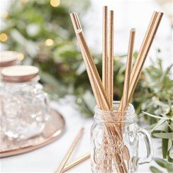Wedding Beautiful Botanics Rose Gold Paper Straws