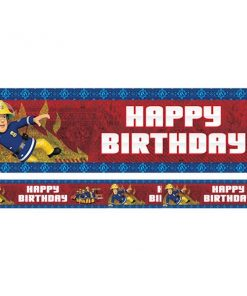 Fireman Sam Party Happy Birthday Holographic Banner