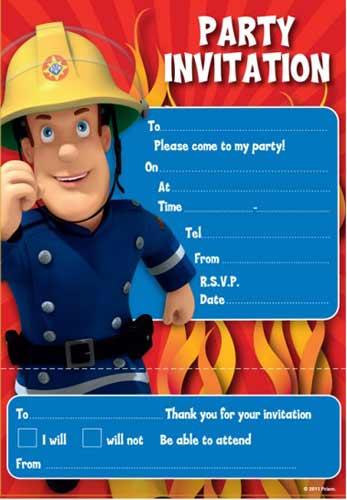 Fireman Sam Party Invite Pad