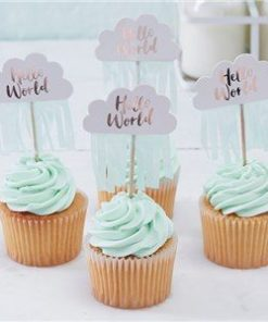 Hello World Rose Gold Foil Cupcake Picks