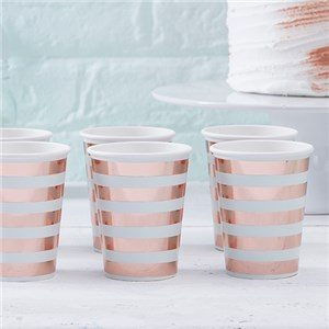 Hello World Rose Gold Foil Paper Cups