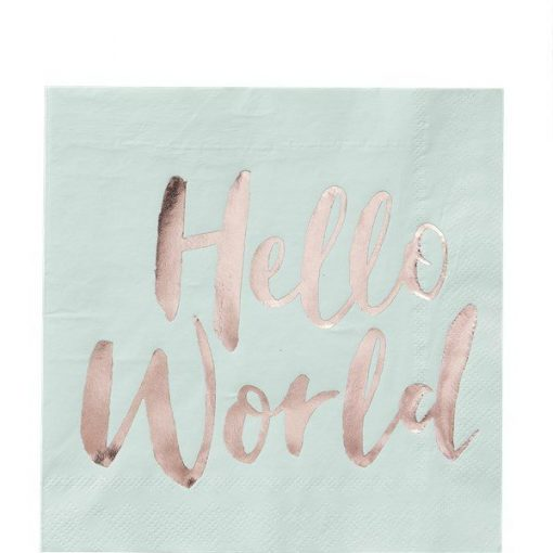 Hello World Rose Gold Foil Paper Napkins