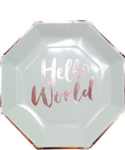 Hello World Rose Gold Foil Paper Plates
