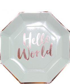 Hello World Rose Gold Foil Paper Plates