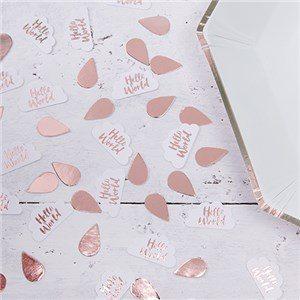 Hello World Rose Gold Foil Party Table Confetti