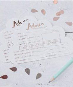 Hello World Rose Gold Party Advice Cards