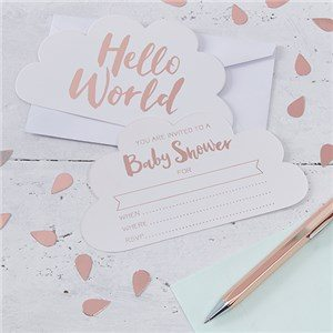 Hello World Rose Gold Party Invitation Cards