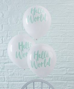 Hello World Rose Gold Party Latex Balloons