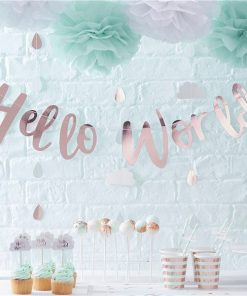 Hello World Rose Gold Party Letter Bunting