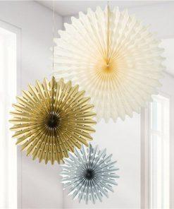 Metallic Gold Mix Paper Fan Decorations