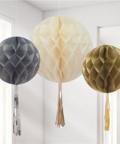 Metallic Mix Honeycomb Ball Tassel Decorations