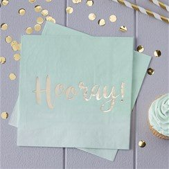Pick & Mix Mint Party Hooray Gold Foiled Paper Napkins
