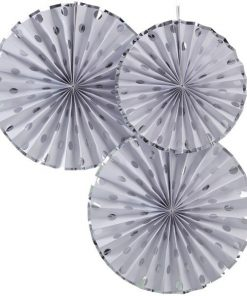 Pick & Mix Party Silver Polka Dot Paper Fan Decorations