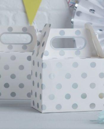 Pick & Mix Party White Metallic Silver Polka Dot Party Box