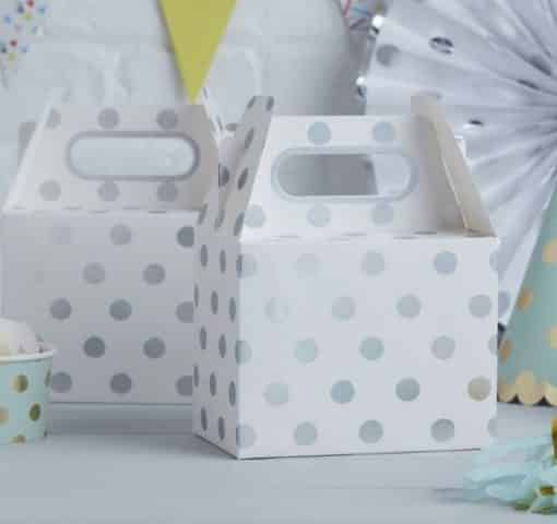 Pick & Mix Party White Metallic Silver Polka Dot Party Box