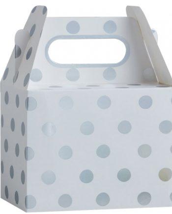 Pick & Mix Party White Metallic Silver Polka Dot Party Boxes