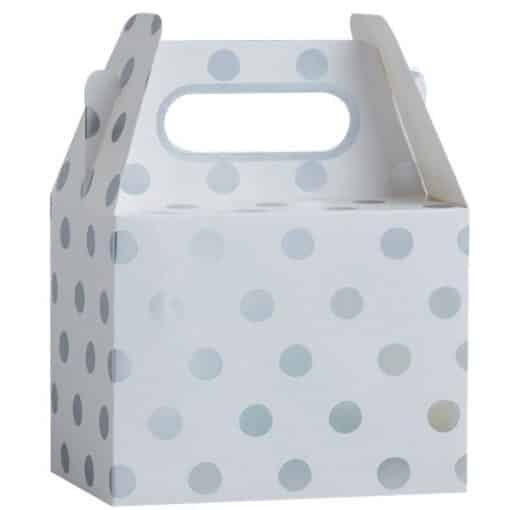 Pick & Mix Party White Metallic Silver Polka Dot Party Boxes