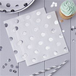 Pick & Mix Silver Party Polka Dot Paper Napkins