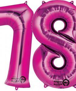 Magenta Pink Number Foil Balloons