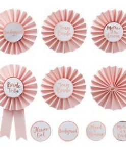 Pink & Rose Gold Hen Party Badges