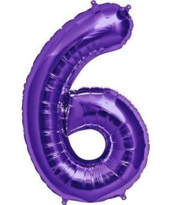 Purple Number Foil Balloons