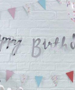 Silver Happy Birthday Banner