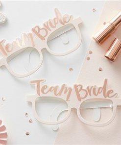 Team Bride Pink & Rose Gold Hen Party Novelty Glasses