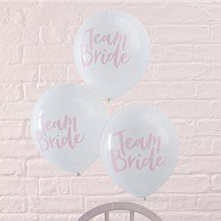 Team Bride White & Pink Hen Party Latex Balloons