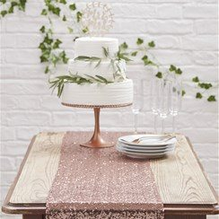 Wedding Beautiful Botanics Rose Gold Sequined Table Runner