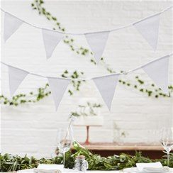 Wedding Beautiful Botanics White Fabric Bunting