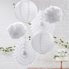 Wedding Beautiful Botanics White Mixed Hanging Decorations