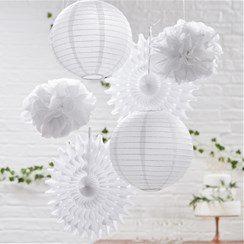 Wedding Beautiful Botanics White Mixed Hanging Decorations