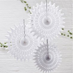 Wedding Beautiful Botanics White Tissue Fan Decorations