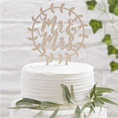 Wedding Beautiful Botanics Wooden 'Mr & Mrs' Cake Topper
