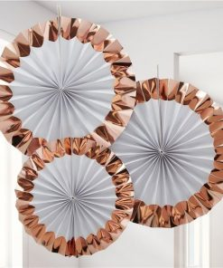White & Rose Gold Paper Fan Decorations